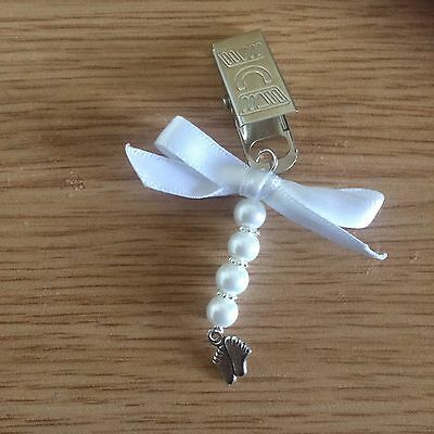 Handmade Crochet Pram Charm feet Ribbon Bow Bling boy Girl Gift