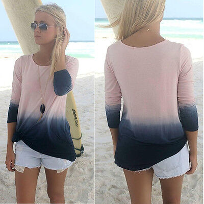 Fashion Womens Ladies Casual Long Sleeve T Shirt Summer Loose Tops Blouse