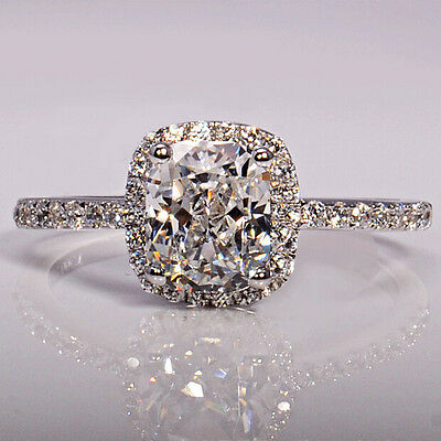 Simulated Diamond 3ct Topaz 925 Sterling Silver Engagement Wedding Band Ring