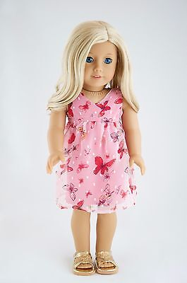 Easter Dress American Made Doll Clothes For 18 Inch Girl Dolls Pink +Butterflies