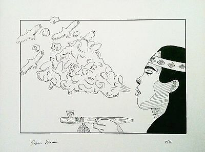 """Exhale"" - Original Drawing - Smoke Bird Eagle Native American Smoking Art"