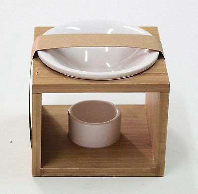 Brand New Bamboo Oil Burner with Ceramic Bowl Aromatherapy Oils and Wax Melts