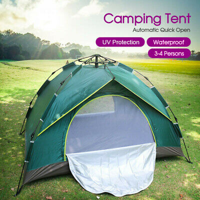 AU New Double Layer Instant Auto Pop Up Camping Tent 4 Person Shelter AU POST