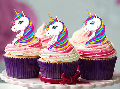 12 Stand Up Rainbow Unicorn Edible Wafer Card Cupcake Decoration Images Toppers