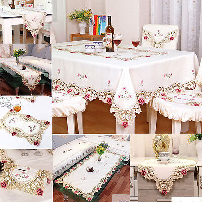 YAZI Embroidery Flower Tablecloth Cutwork Fabric Wedding Party Table Cloth Cover