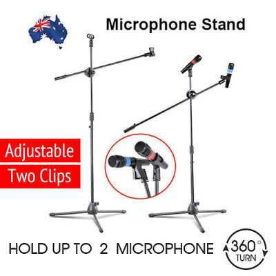 Adjustable Microphone Stand Mic Holder Tripod Two Clip  1 to 2 M