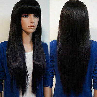 Women Long Brazilian Black Straight Remy Wig Hair Bangs Full Wigs Hot