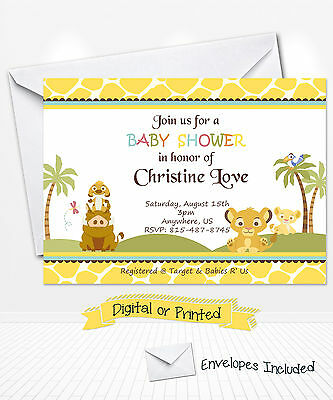 Printed Simba Lion King Baby Shower Invitations Nala Party