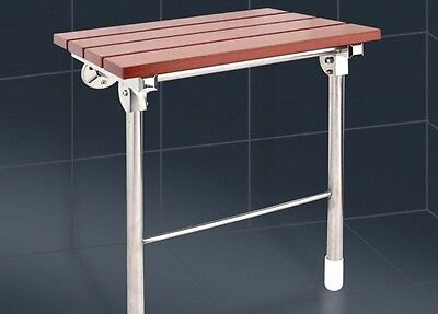 Wall Mounted Solid Wood Folding Shower Seat Wooden Bathroom Mobility Aid