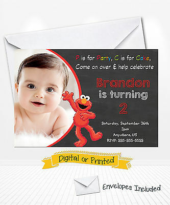 PRINTED Sesame Street ELMO Birthday Invitations Chalkboard Party Invitations