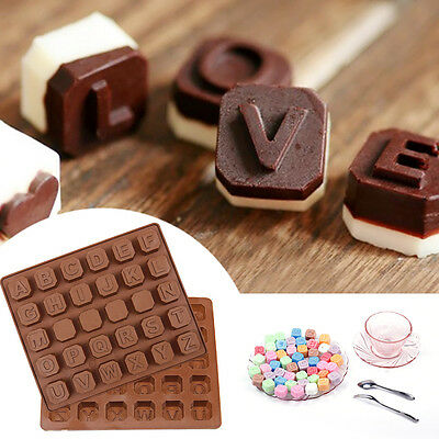 Chocolate Letter Alphabet Silicone Ice Cube Jelly Tray Candy Cake Baking Mould