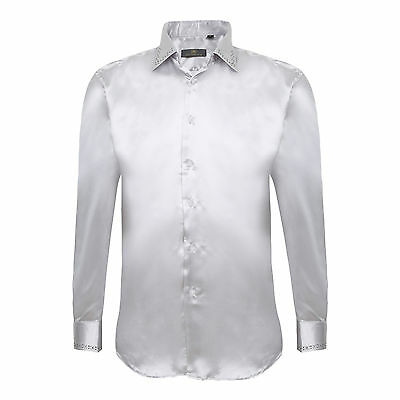 Robelli Men's Satin Dress Shirt with Diamante Applique & Matching Tie - Silver