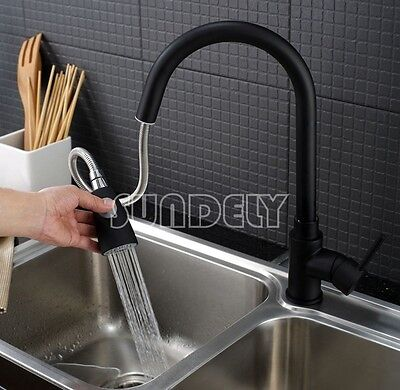 black brass Chrome Brushed Steel Faucet Kitchen Tap Swivel Pull Out Spray Mixer
