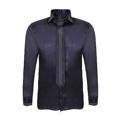 Robelli Men's Diamante Collar Cuff Satin Shirt & Matching Tie - Midnight Blue