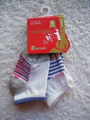 BNWT Baby Girl's Red Robin 2 Pack Sports Socks Shoe Size 00-1 0-6 Months