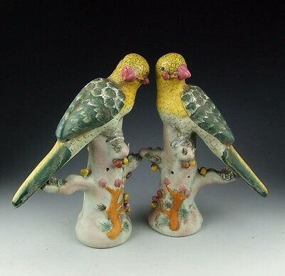 Pair of China Antique Famille Rose Porcelain Birds Statue