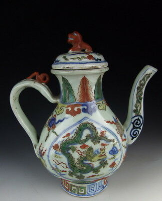One Nice Chinese Antique Five-colored Porcelain Pot with Dragon