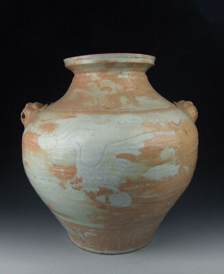 Chinese Antique Egg White Glazed Porcelain Pot With Incised Phoenix Pattern