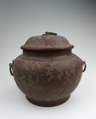 One Nice Later Chinese Antique YiXing Ware ZiSha Pottery Lidded Pot