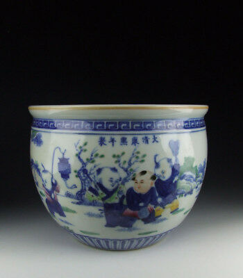 One Nice Chinese Antique Colored Blue&White Porcelain Pot Boys