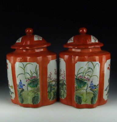 Pair of Chinese Antique Red Glazed Famille Rose Porcelain Jars