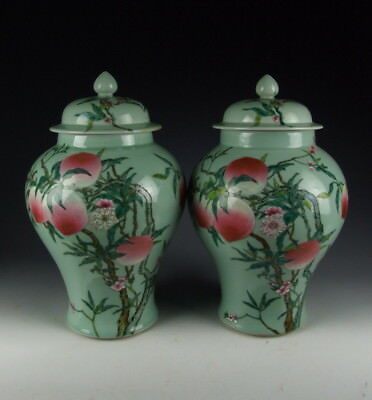 Pair of Chinese Antique Famille Rose Peach Porcelain Lidded Jars