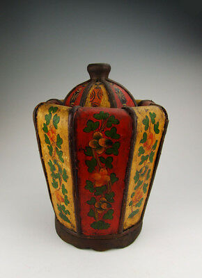 One Tibetan Painted Wooden Monk-Hat Shaped Casket