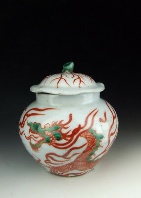 One Nice Red&Green Coloring Dragon Porcelain Pot Chinese Antique