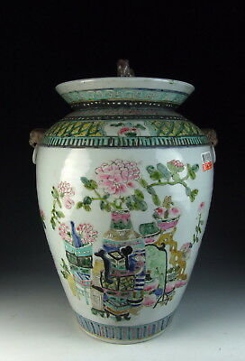 Chinese Antique Five Colored Porcelain Lidded Jar with Flower