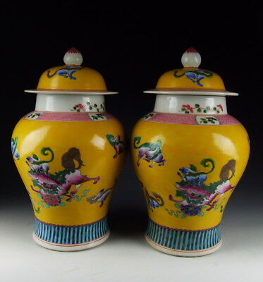 Pair of Chinese Antique Famille Rose Porcelain Jars w Foo Dog