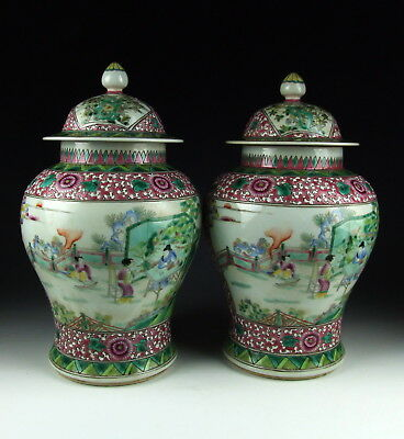 Pair of Chinese Antique Famille Rose Porcelain Lidded Jars