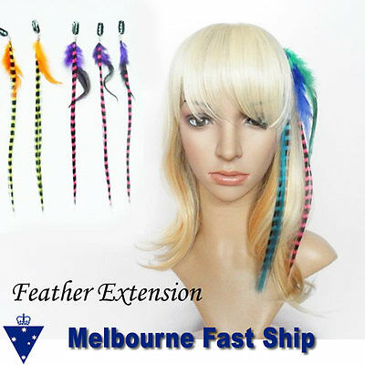 Clip-In Streak Feather Hair Extensions remy colour red blue pink purple green