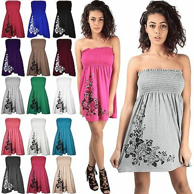 Women Ladies Diamante Floral Rose Shering Swing Bandeau Boobtube Mini Dress Top