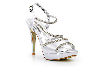 Satin White Diamante Wedding High Heels Platform Evening Bridal Prom Shoes
