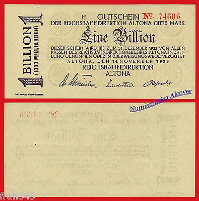 GERMANY REICHSBAHNDIREKTION ALTONA 1 Billion mark 1923 Pick S1125 SC- / aUNC
