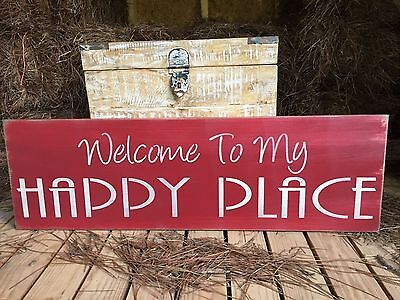 """Large Rustic Wood Sign - """"Welcome To My Happy Place"""" - Free Color Customization"""