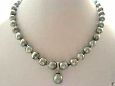 7-8mmRARE High TAHITIAN PEARL NECKLACE WITH PENDANT