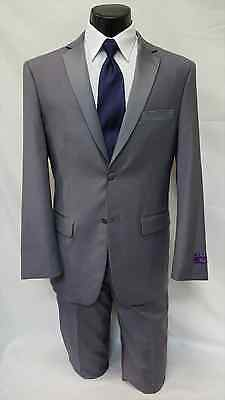 New Men's 40 R Gray Slim Fit Tuxedo Pants Set Formal Wedding Groom Grey Package