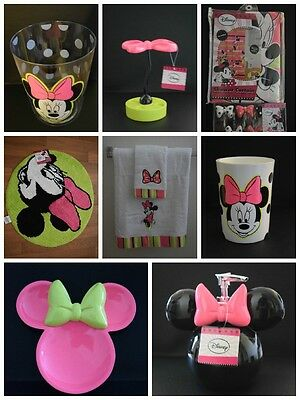 NEW Disney MINNIE MOUSE 21 pc SHOWER CURTAIN w/ HOOKS Trash Can BATH RUG & More