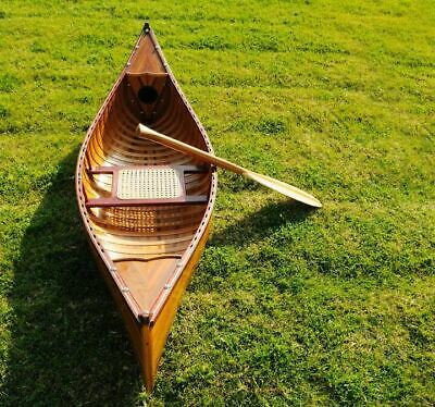 "Display Cedar Strip Canoe Ribs & Paddle Assembled 6"" Built Wooden Model Boat New"