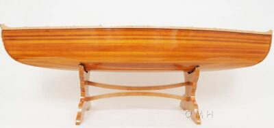 "Cedar Strip Canoe Table Assembled 59.5"" with a Full Glass top and Stand New"
