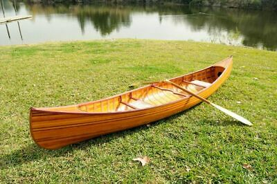 Real Cedar Strip 12 Feet Canoe with Ribs & Paddles Curved Bow Built Wooden New