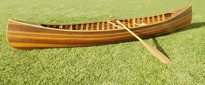 Real Cedar Strip 12 feet Canoe with Ribs,Paddles Curved Bow Built Wooden Matte