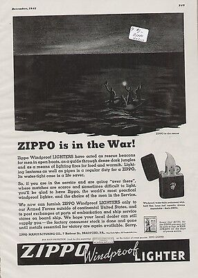 Zippo Windproof Lighter 1943 Vintage WWII Wartime Ad, Beacon Lost Sailors