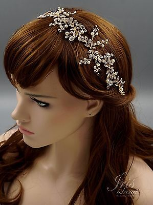 Crystal Pearl Flower Headband Headpiece Tiara Bridal Wedding Accessory 605 Gold