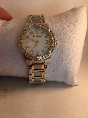 Ladies Bulova 98R107 Genuine Diamond Accented Date Mother of Pearl Watch-H31