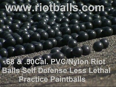 500 X .68 Cal. PVC/Nylon Riot Balls Self Defense Less Lethal Practice Paintballs