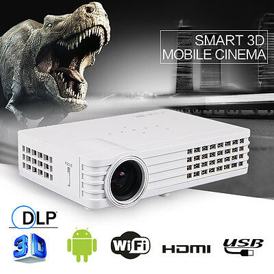 1080P 5000 LX 3D DLP proyector Android 4.4 Wifi Mini Home Theater HD USB*2 HDMI