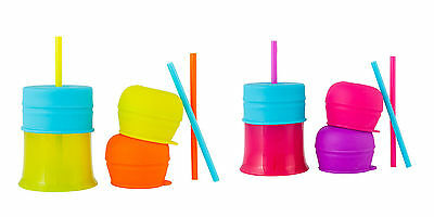 Boon Snug Straw With Cup Baby Sippy Spill Proof 100% Silicone Lids BPA PVC Free