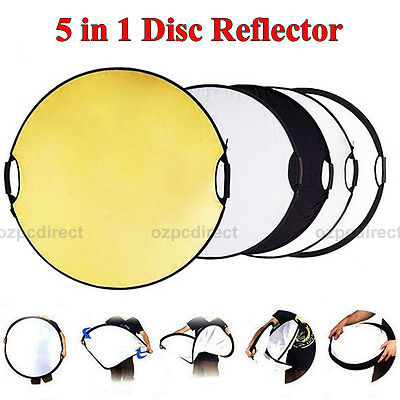 5 in 1 Portable Round 43''Inch 110cm Multi Camera Lighting Reflector Kit AU POST
